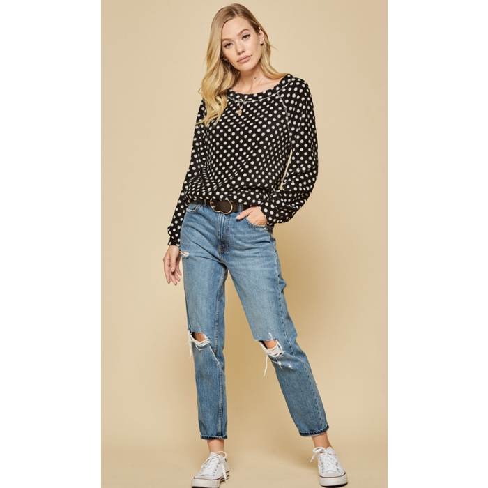 Black & White Polkadot Pullover Fleece Sweater