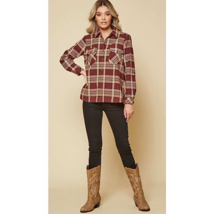 Burgundy Plaid Cactus Embroidered Button Up Top