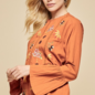 Rust Bell Sleeve Floral Embroidered Blouse