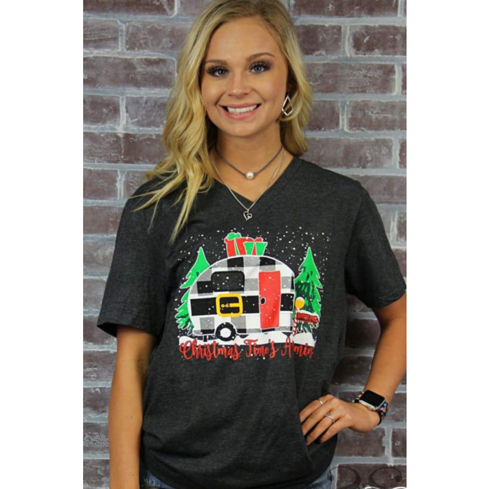 Christmas Is A Coming Camper V-Neck T-Shirt
