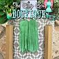 Metallic Green Fringe Long Earrings