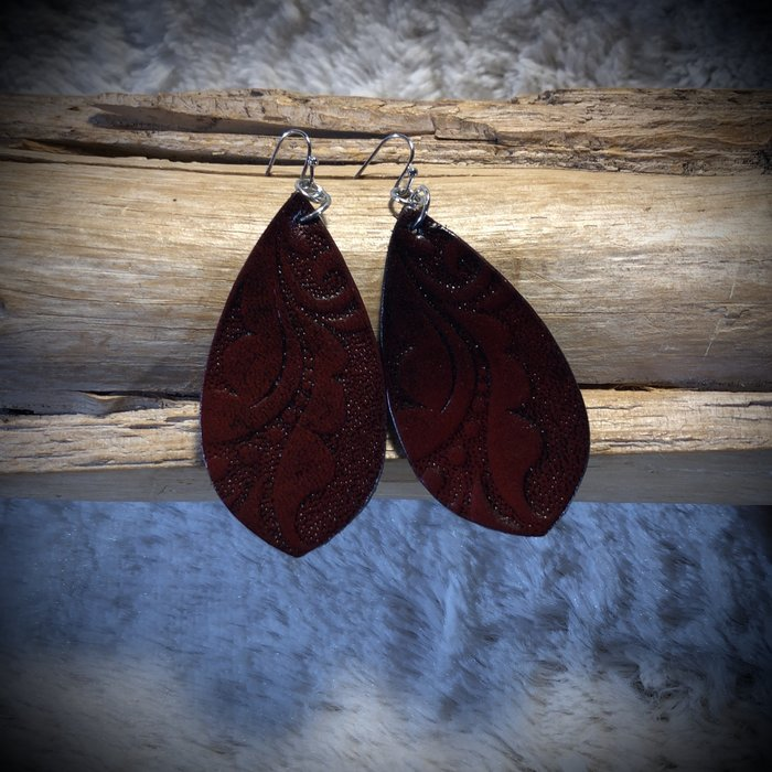 Dark Cherry Brown Tooled Leather Earrings