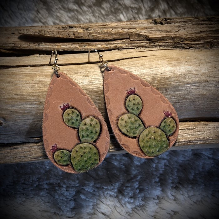 Leather Blooming Cactus - Large Print Earrings