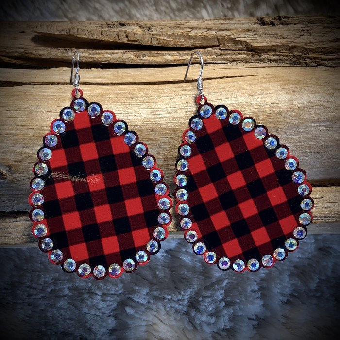 Red Buffalo Plaid AB Crystal Teardrop Earrings