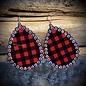 Red Buffalo Plaid AB Crystal Teardrop Earrings