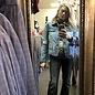 Alyssa Fallout Denim Leopard Faux Fur Jacket with Detachable Fur Collar