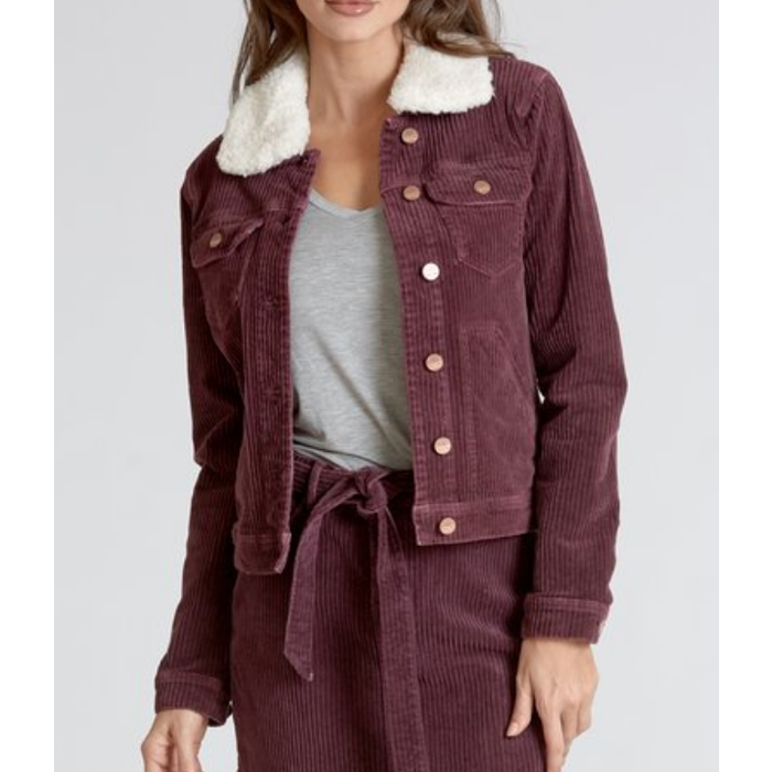 Alyssa Corduroy Bomber Jacket with Fur Collar in Mulberry