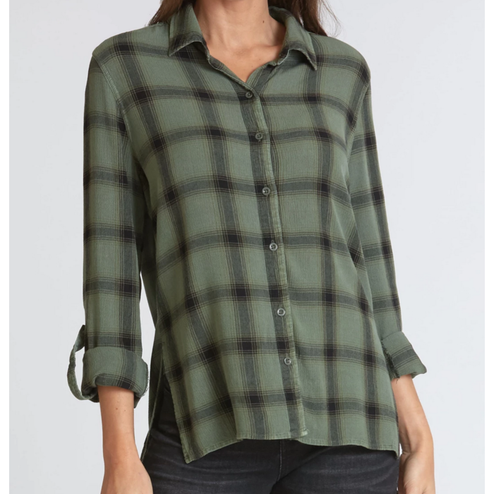 Evelyn Aloe Plaid Print Button Front High Low Blouse