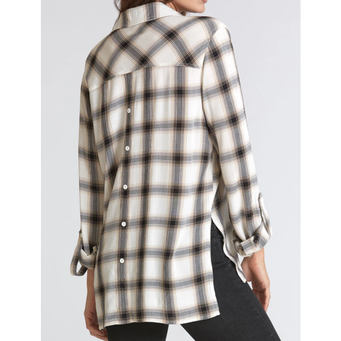 Evelyn White & Black Plaid Print Button Front High Low Blouse