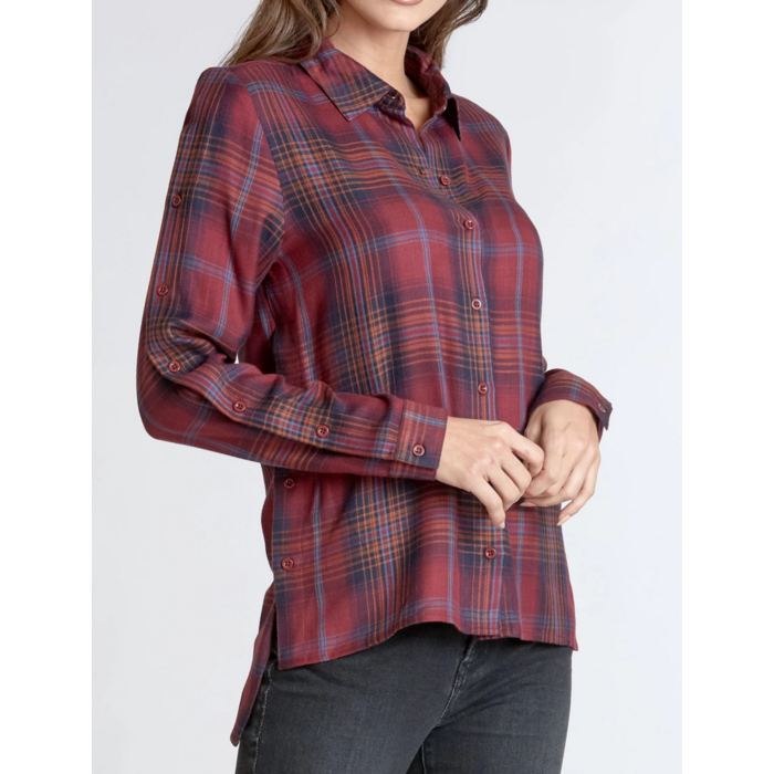 Eden Mulberry Plaid Print Button Front High Low Blouse