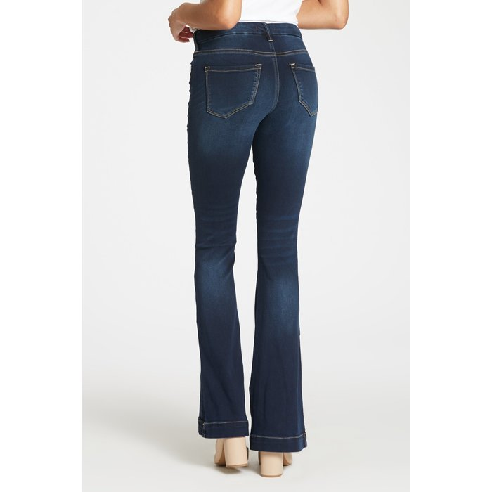 Sadie Mirage Highrise Dark Flare Jean w/Side Slit