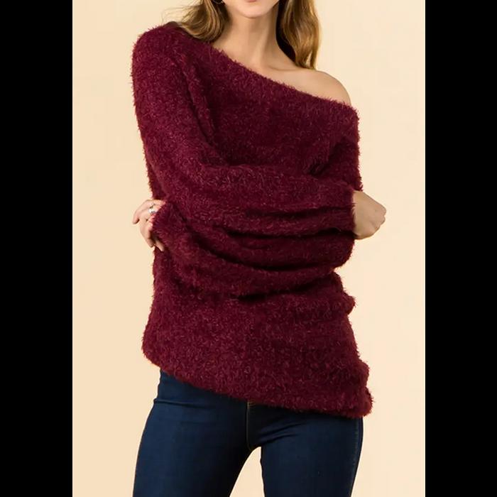 Wine Off Shoulder Soft Cozy Eyelash Sweater Tunic
