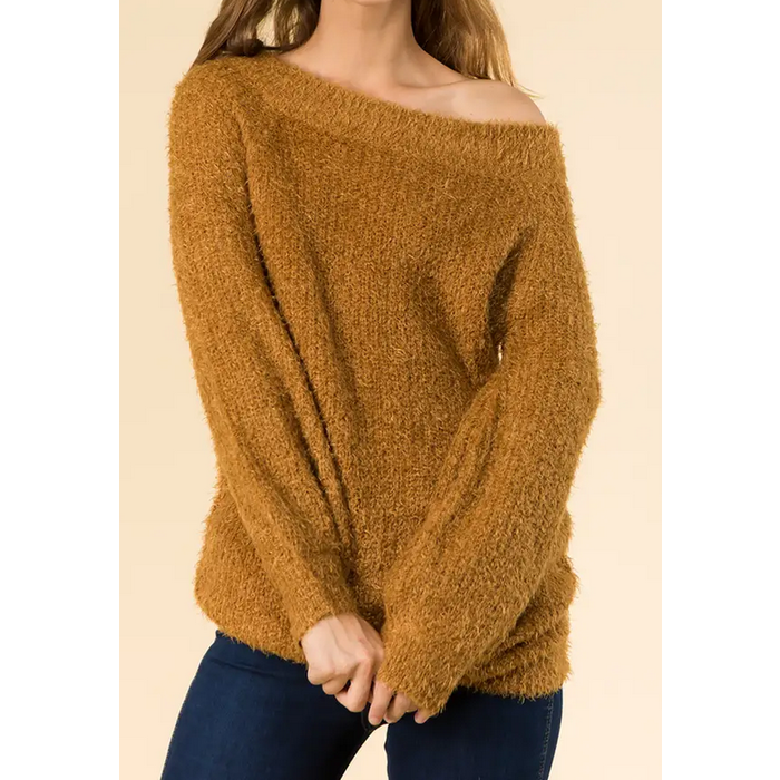 Mustard Off Shoulder Soft Cozy Eyelash Sweater Tunic