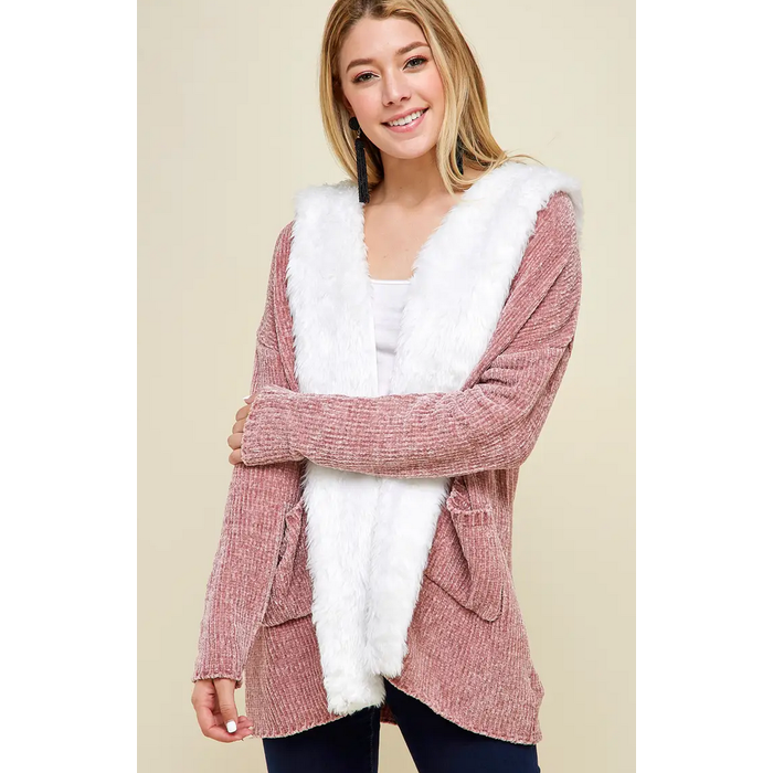 Dusty Mauve Cozy Faux Fur Trimmed Chenille Cardigan