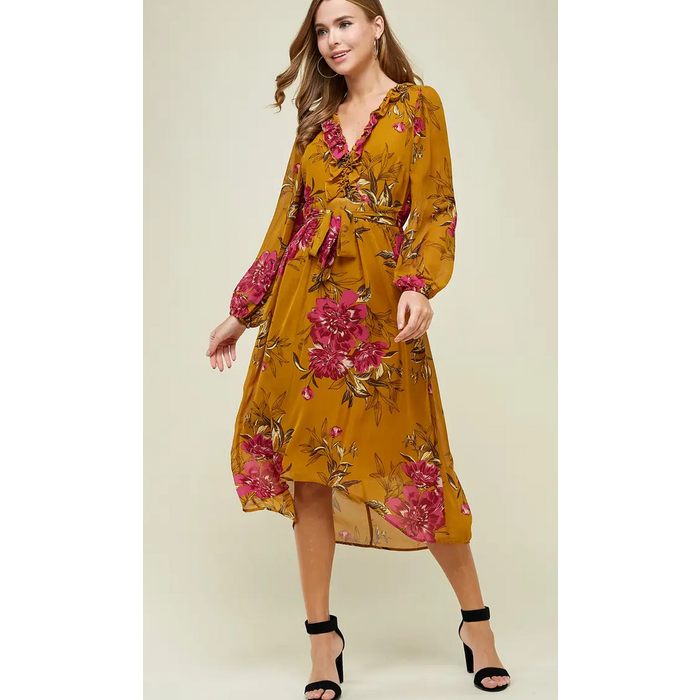 Mustard Floral Print High Low Dress