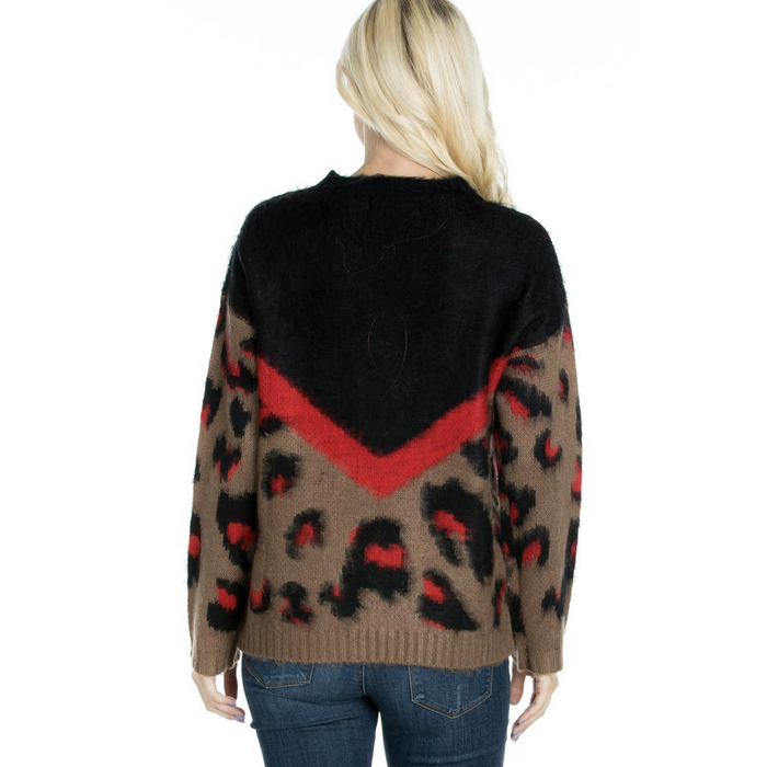 Red Mix Leopard Color Block Sweater