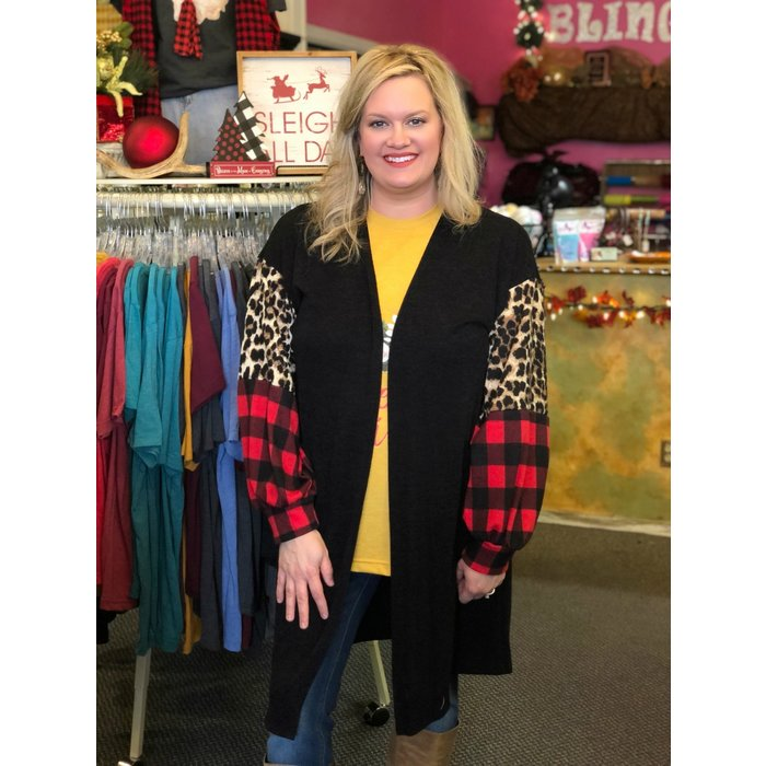 Leopard Red Buffalo Plaid Color Block Black Cardigan