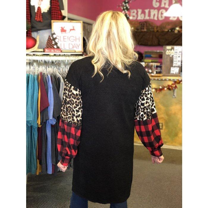 Leopard Red Buffalo Plaid Color Block Black Cardigan