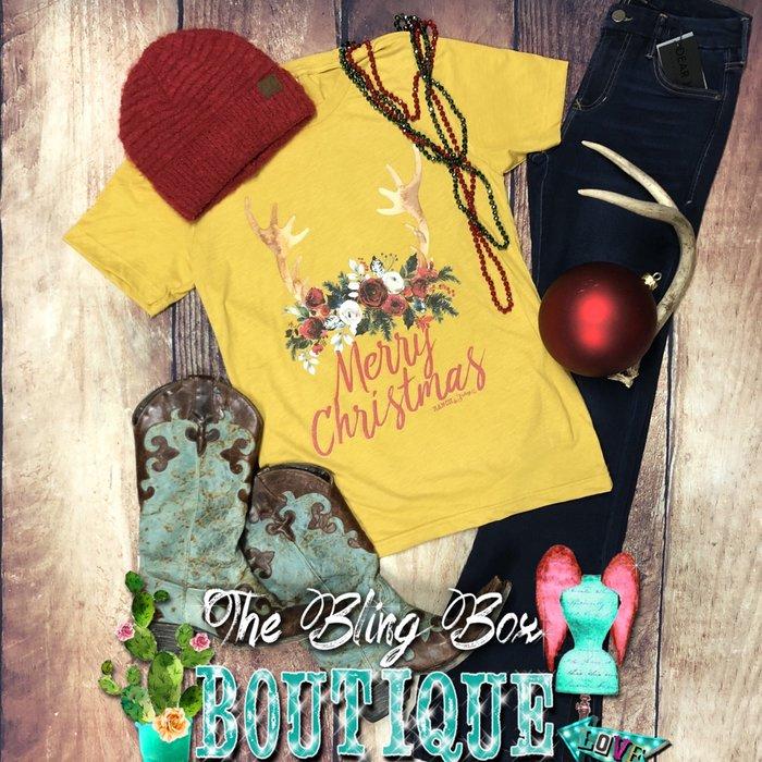 Mustard Merry Christmas Antler T-Shirt