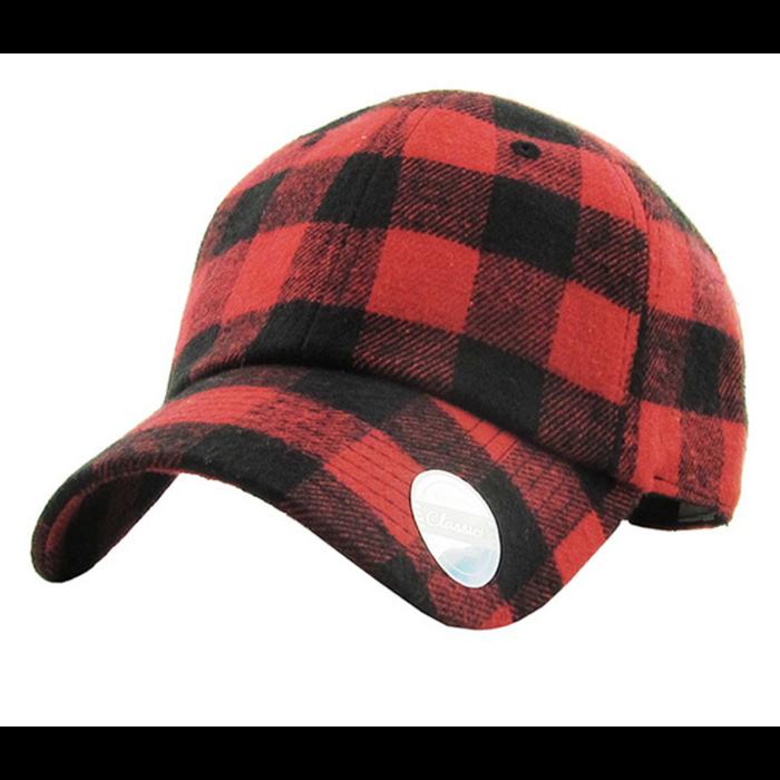 Red & Black Buffalo Plaid Ball Cap