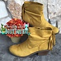 Veronica Mustard Bootie with Fringe and Side Zipper
