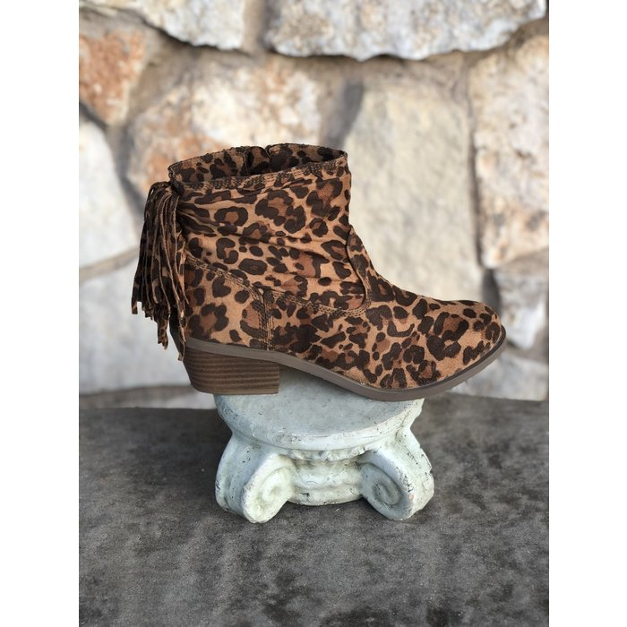 Veronica Leopard Bootie with Fringe and Side Zipper
