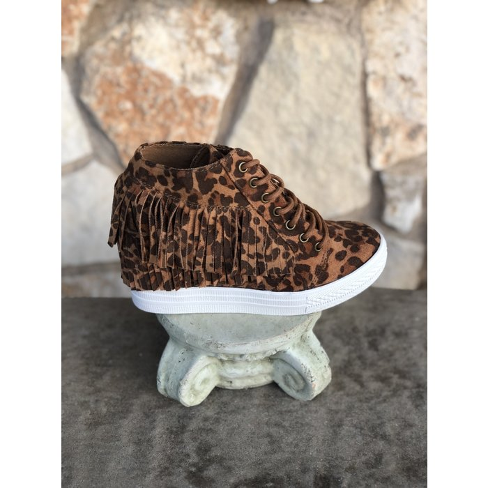 Leopard Nick Fringe Wedge Tennis Shoes