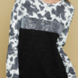 Black Cow Print Silver Sequin Long Sleeve Sweater