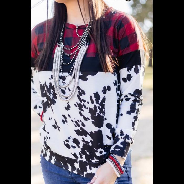 Cowboy Christmas Sweatshirt with Buffalo Plaid & Cowprint