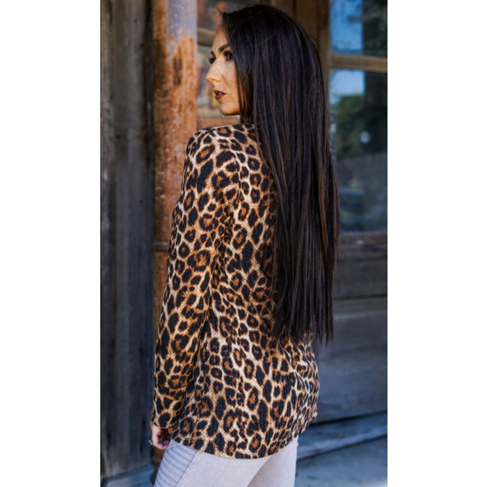 Long Sleeve Leopard Print Thermal Top