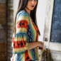 Red Mint Blue Aztec Stripe Gathered Bell Sleeve Top