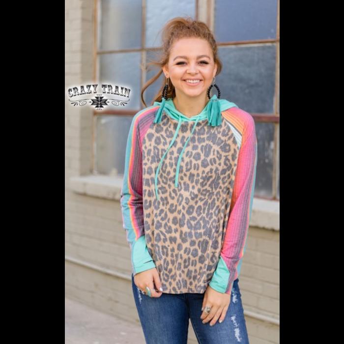 Yas Girl Leopard Serape Hoodie
