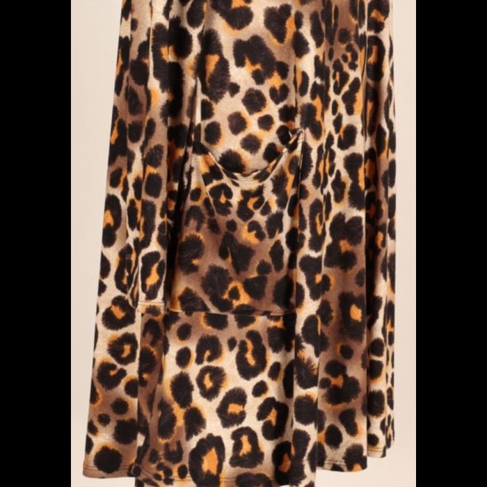 Long Sleeve Mustard Leopard Dress with Pockets