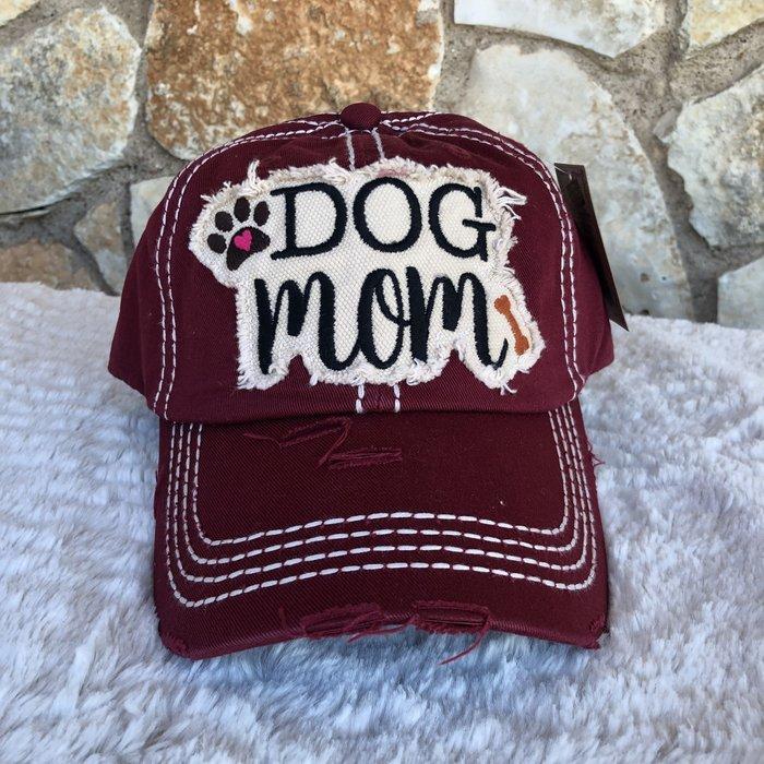 Dog Mom Burgundy Ball Cap