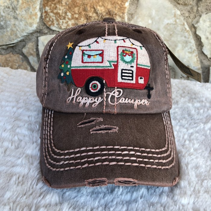 Happy Camper Christmas Vintage Ball Cap