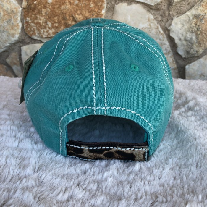 Turquoise & Leopard Camper Christmas Vintage Ball Cap