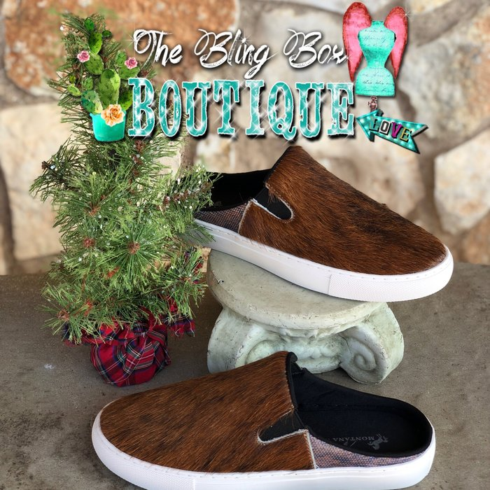Coffee Genuine Cowhide Slide Shoes