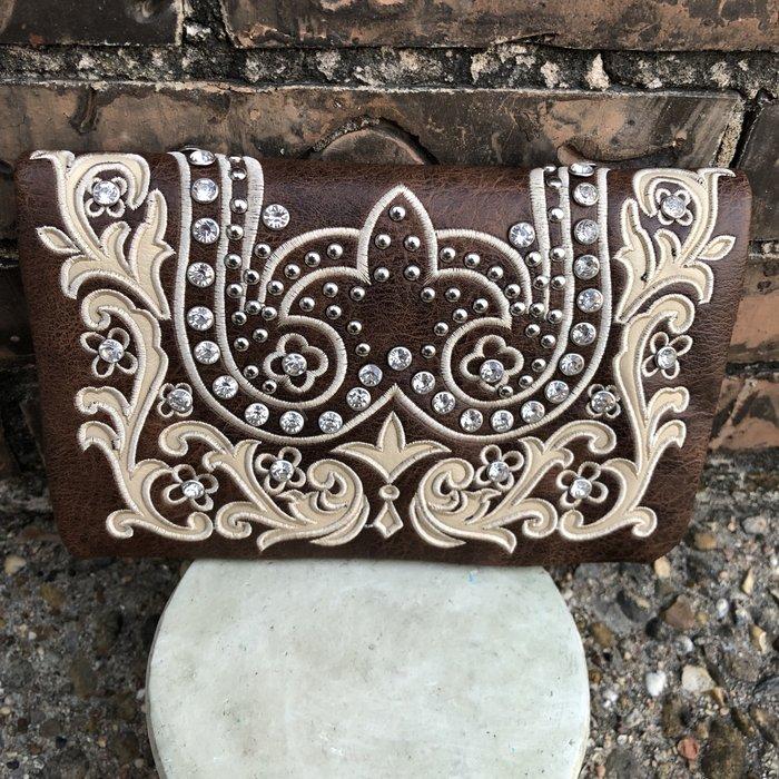 Bling Clutch Wallet Crossbody Bag - H