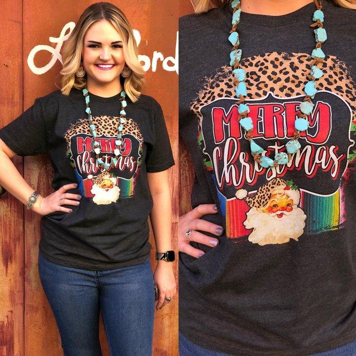 Serape & Leopard Christmas Vintage Santa T-Shirt