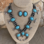 Turquoise Stone Silver Squash Navajo Pearl Necklace Set