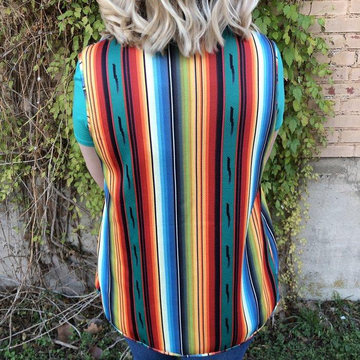 Bright Serape Print Sherpa Vest