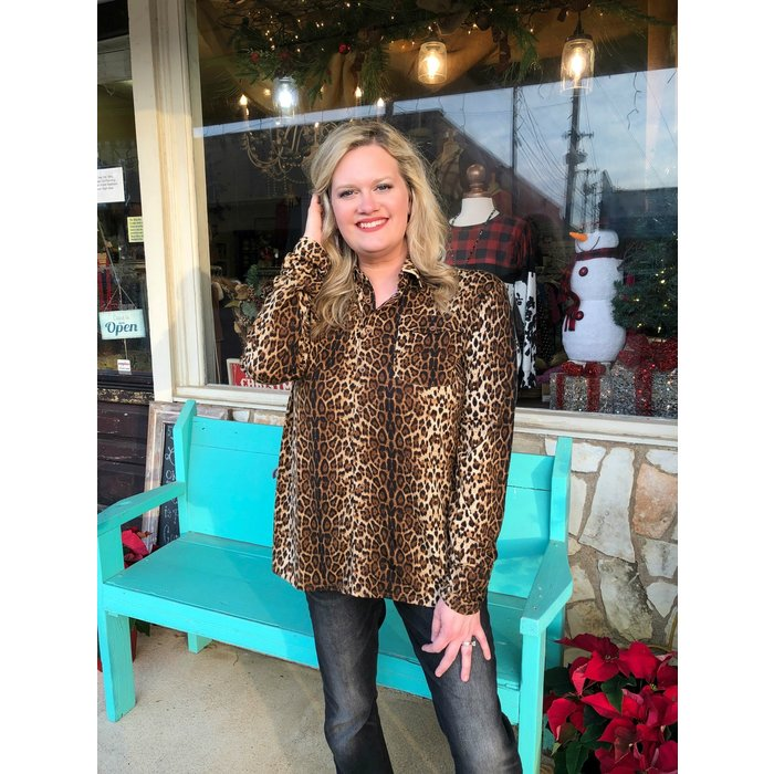 Leopard Print Jersey Pullover Button Up Top