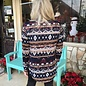 Navy Aztec Print Jersey Pullover Button Up Top
