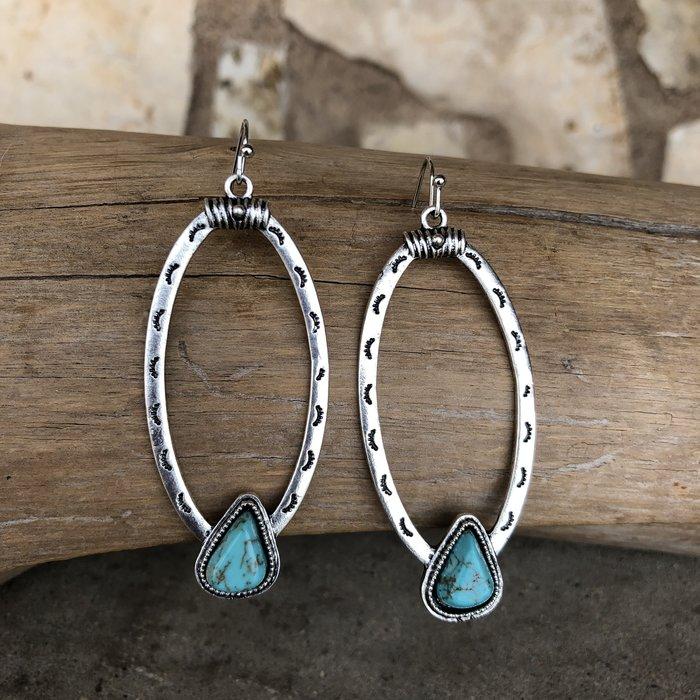 Aztec Open Hoop Earrings with Turquoise