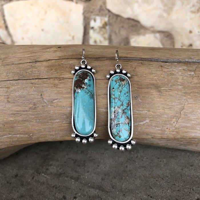 Turquoise Stone Bali Style Earrings