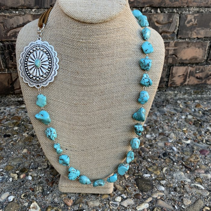Turquoise Stone Concho Leather Tassel Necklace