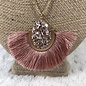 """18"""" Double Layer Rose Gold Druzy Fan Necklace"""