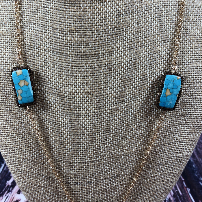 Gold Chain Turquoise Stone Bronze Pave Necklace