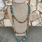 Tan Marble Turquoise Stone Lariat Beaded Necklace