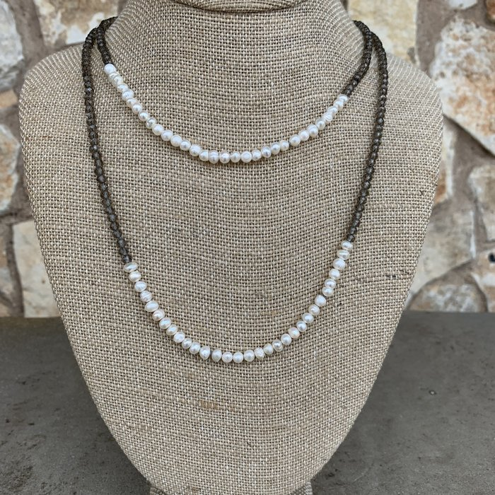 """Pearl & Grey Thin 60"""" Crystal Necklace"""